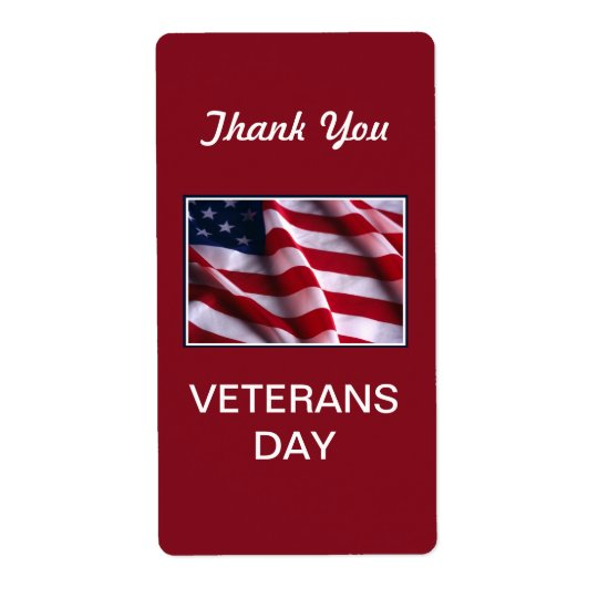 Veterans Day Celebration, Flag on Red Shipping Label