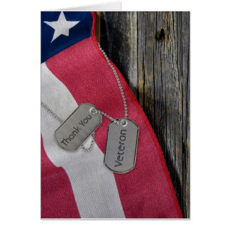 Veterans Day-dog tags on flag Card