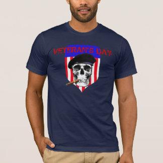 Veteran's Day Skull in Beret with Cigar on shield T-Shirt