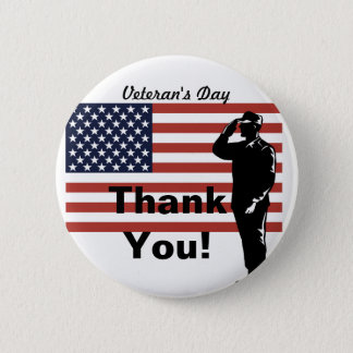 Veteran's Day Thank You! Soldier Saluting Flag 6 Cm Round Badge