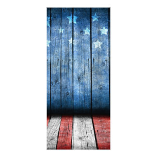 Veterans day, white,red and blue,US flag wood Customised Rack Card