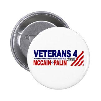 Veterans for McCain Palin 2008 Pinback Button
