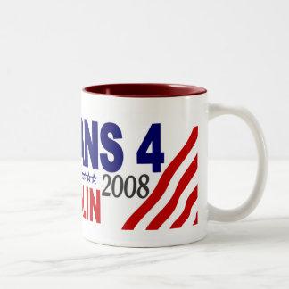 Veterans for McCain Palin 2008 Two-Tone Mug