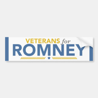 Veterans For Romney Ryan Bumper Sticker