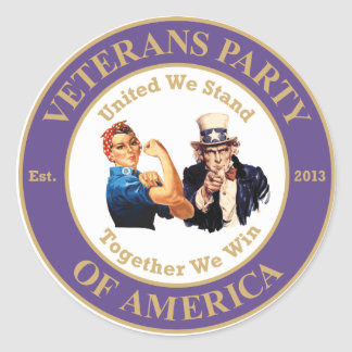 Veterans Party of America Circle Logo Sticker Lg.