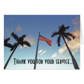 Veterans Thank You for Service with American Flag Greeting Card