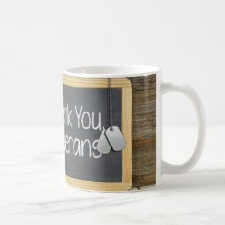 veterans thank you on black chalkboard basic white mug