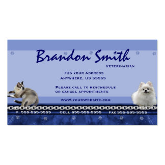 Veterinarian Appointment Business Cards ~ Blue H