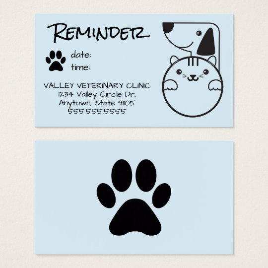 Veterinarian Appointment Reminder Card