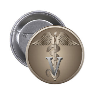 Veterinarian Caduceus 6 Cm Round Badge
