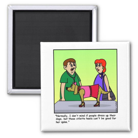 Veterinarian Cartoon Square Magnet