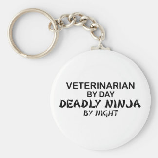 Veterinarian Deadly Ninja Basic Round Button Key Ring