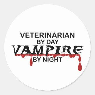 Veterinarian Vampire by Night Round Stickers