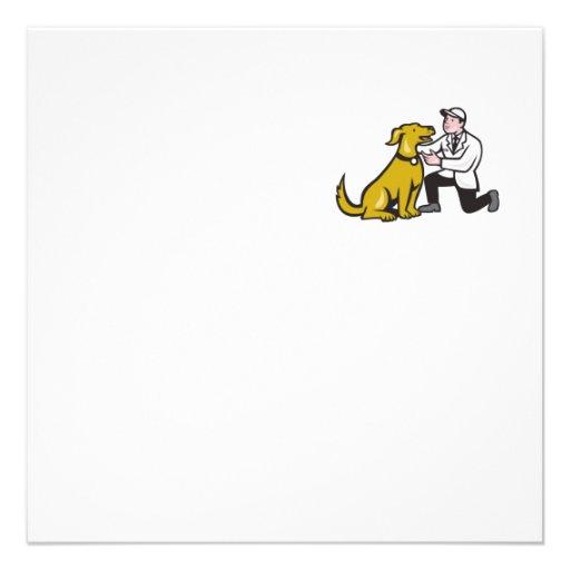 Veterinarian Vet Kneeling With Pet Dog Cartoon Personalised Invitation