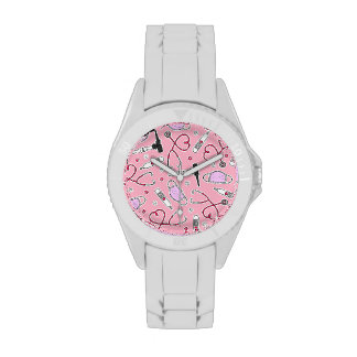 Veterinarian Veterinary Technician Pattern Pink Wristwatch