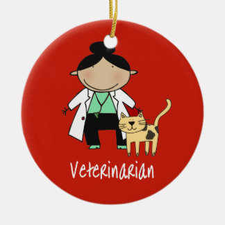 Veterinarian Woman with Cat Personalized Christmas Ornament