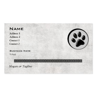 Veterinary Animal Logo with Black and White Paw Business Cards