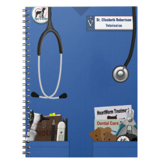 Veterinary Blue Scrubs & Pockets Design Spiral Notebook