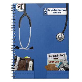 Veterinary Blue Scrubs & Pockets Design Spiral Notebook