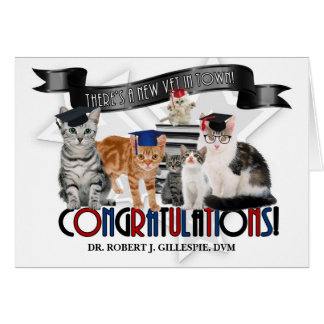 Veterinary Graduate Humorous Cats in Caps Card
