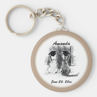 Veterinary Graduation Dog and Cat, Round Gift Basic Round Button Key Ring