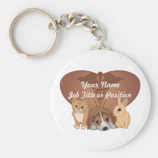 Veterinary Medicine Basic Round Button Key Ring