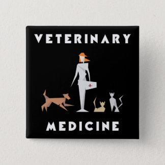 Veterinary Medicine Geometric Woman 15 Cm Square Badge