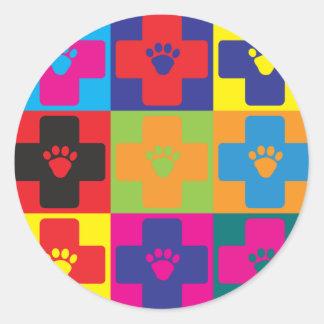 Veterinary Medicine Pop Art Round Stickers