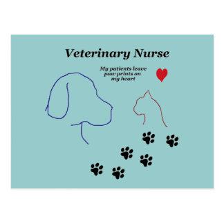 Veterinary Nurse-Paw Prints on My Heart Postcard