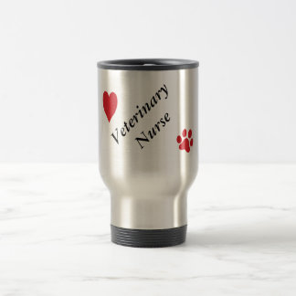 Veterinary Nurse-Red Paw Print and Heart Travel Mug