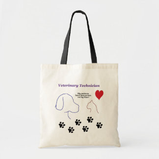 Veterinary Technician - Paw Prints on My Heart Budget Tote Bag