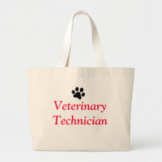 Veterinary Technician with Black Paw Print Canvas Bag