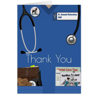 Veterinary Thank You In Blue Card