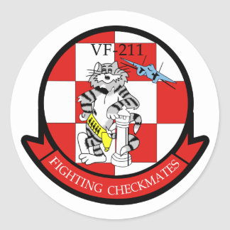VF-211 Fighting Checkmates Classic Round Sticker