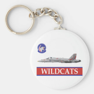 VFA-131 WILDCATS Squadron with F-18 Basic Round Button Key Ring