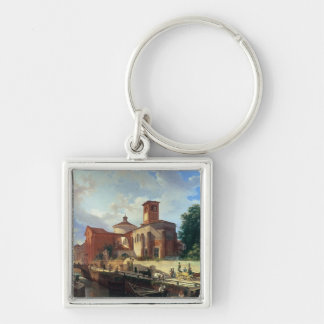 Via Fatabene Fratelli, Milan, 1830 Silver-Colored Square Key Ring