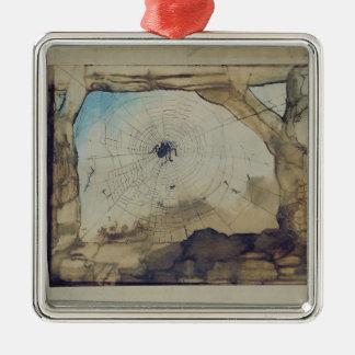 Vianden through a Spider's Web Silver-Colored Square Decoration