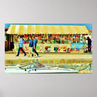 Viareggio Harbor Quayside Scene, Poster Print