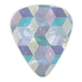 Vibrant 3D color cube patterns Pearl Celluloid Guitar Pick