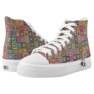 Vibrant 60's retro geometric pattern high tops