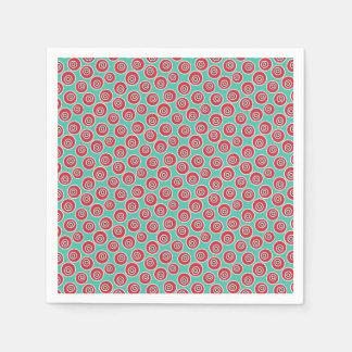 Vibrant 60's retro geometric pattern paper napkin