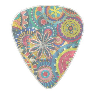 Vibrant Abstract Circle pattern Pearl Celluloid Guitar Pick