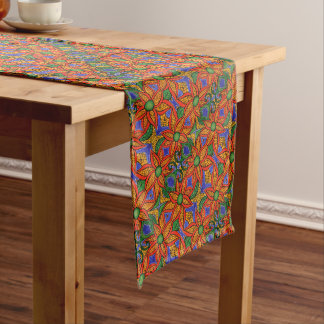 Vibrant Abstract Floral Pattern Medium Table Runner