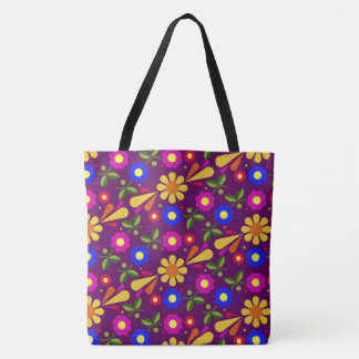 Vibrant abstract floral pattern tote bag