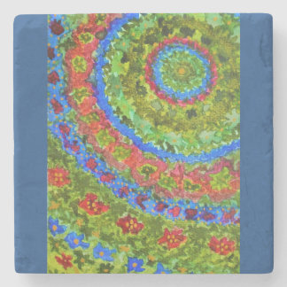 Vibrant abstract watercolor fractal garden stone coaster