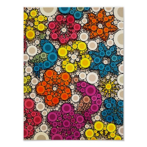 Vibrant and Bold Flowers with Circles Poster
