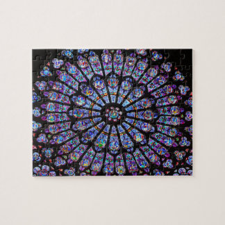 Vibrant and Colorful Notre Dame Stained Glass Jigsaw Puzzle