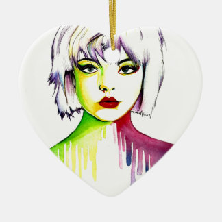 Vibrant and Colourful portrait art Ceramic Heart Decoration