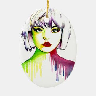 Vibrant and Colourful portrait art Ceramic Oval Decoration