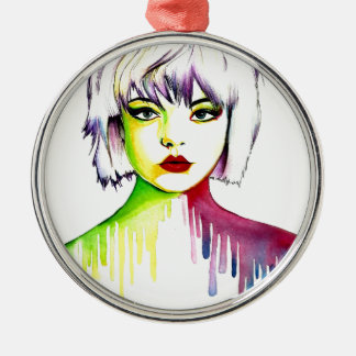 Vibrant and Colourful portrait art Silver-Colored Round Decoration